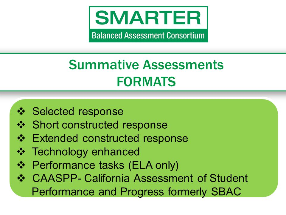 Summative Assessments FORMATS