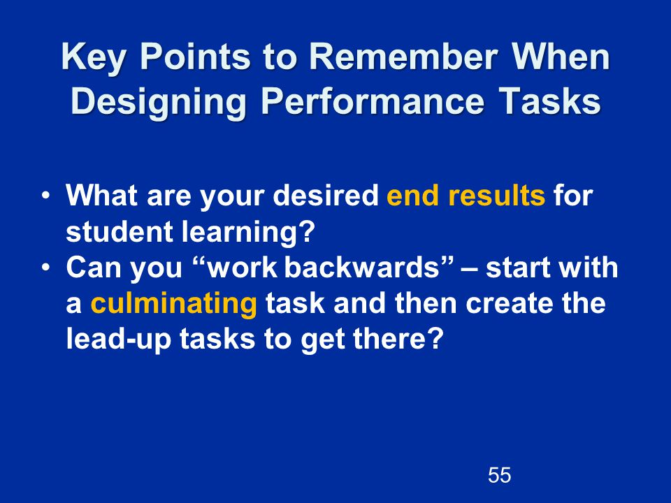 Key Points to Remember When Designing Performance Tasks