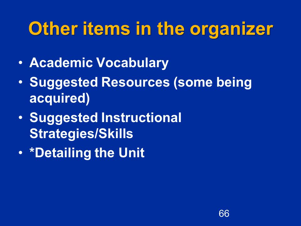 Other items in the organizer