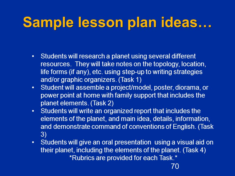 Sample lesson plan ideas…