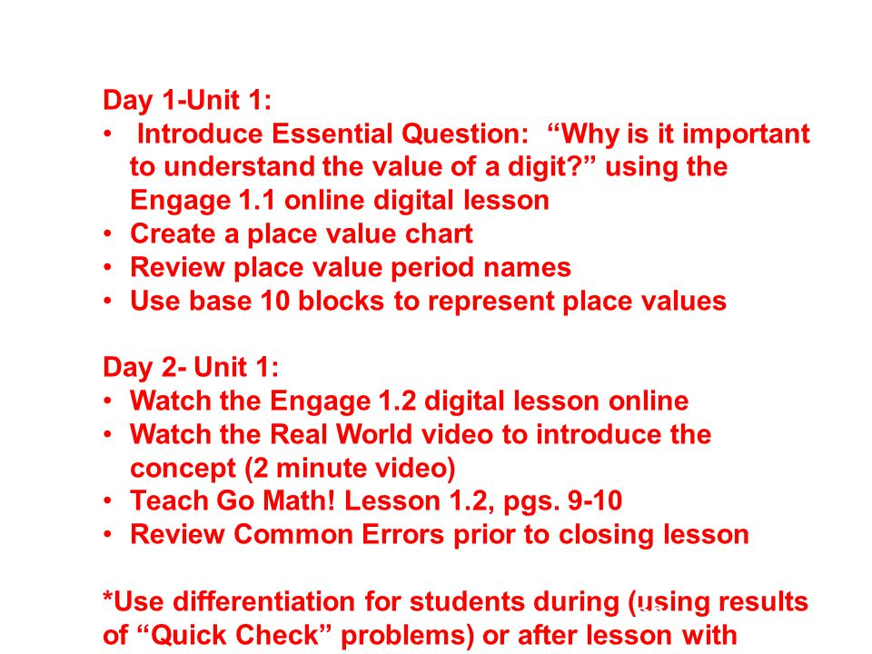 Day 1-Unit 1: Introduce Essential Question: Why is it important to understand the value of a digit using the Engage 1.1 online digital lesson.