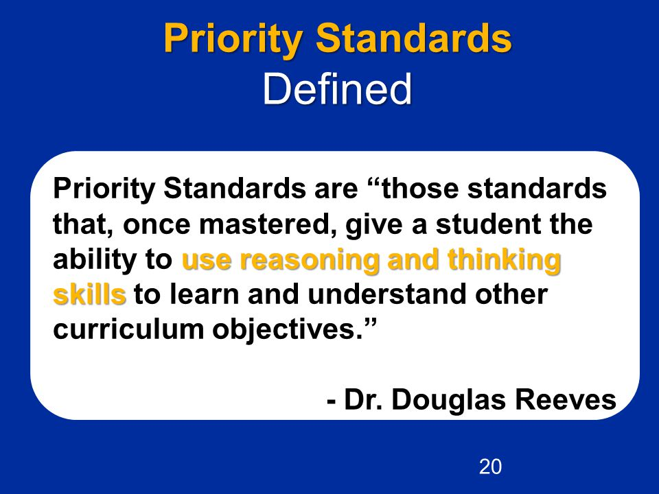 Defined Priority Standards