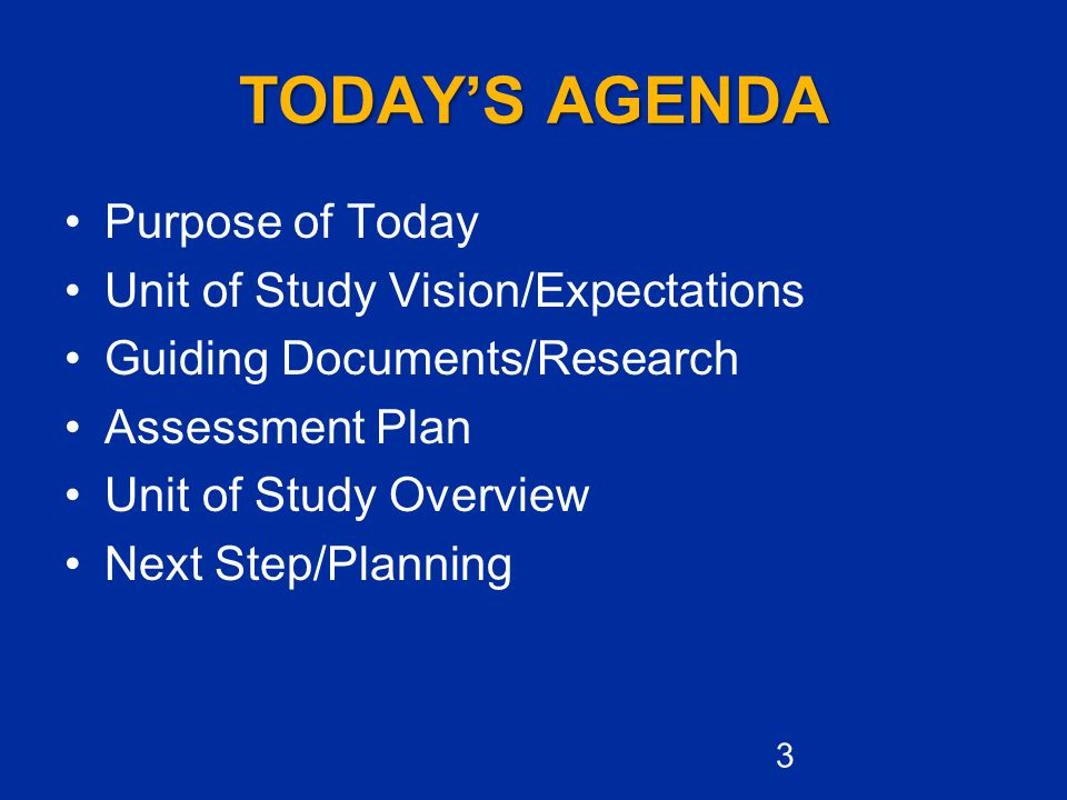 TODAY'S AGENDA Purpose of Today Unit of Study Vision/Expectations