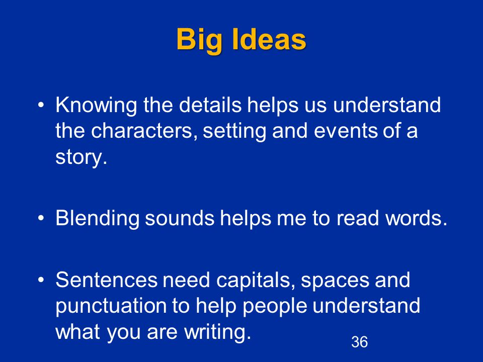 Big Ideas Knowing the details helps us understand the characters, setting and events of a story. Blending sounds helps me to read words.