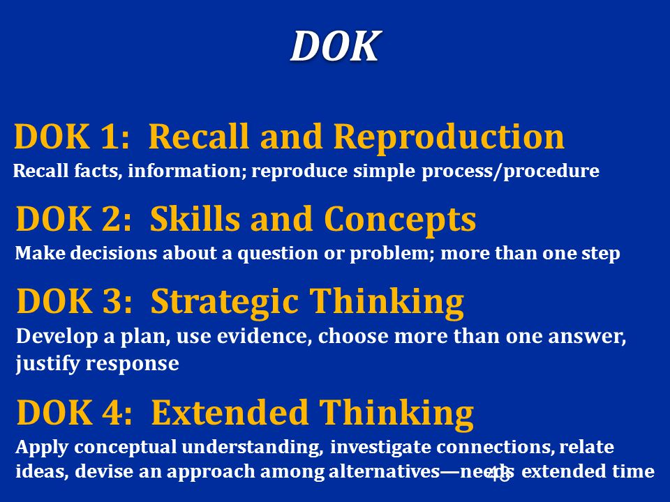 DOK DOK 1: Recall and Reproduction DOK 2: Skills and Concepts