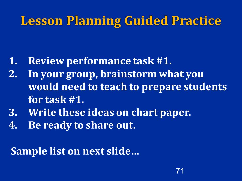 Lesson Planning Guided Practice