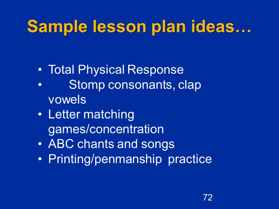 Sample lesson plan ideas…