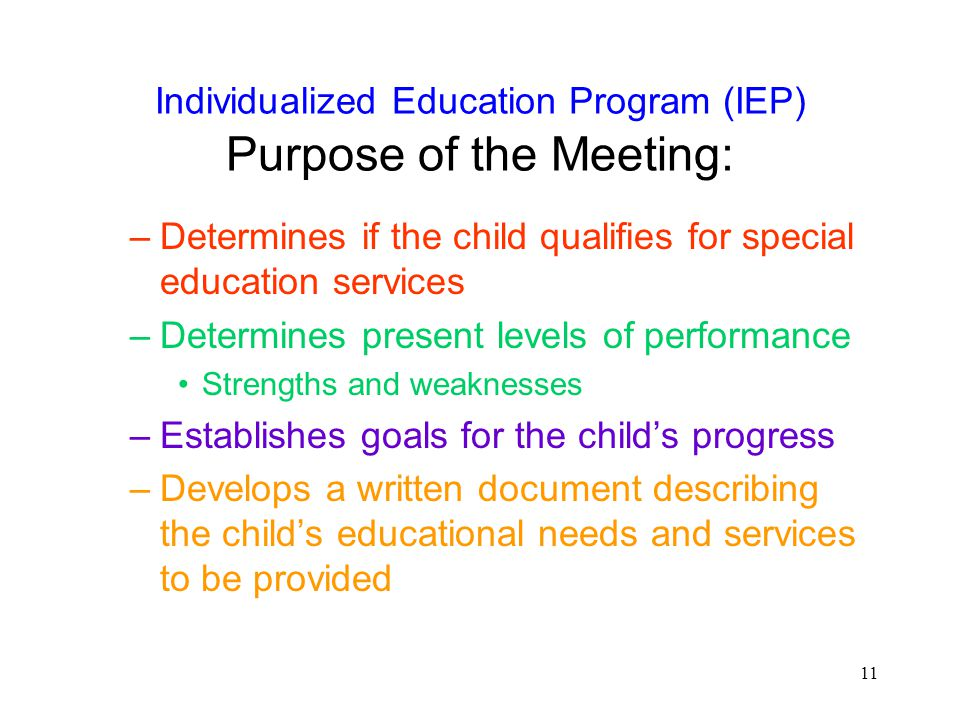 Individualized Education Program (IEP) Purpose of the Meeting: