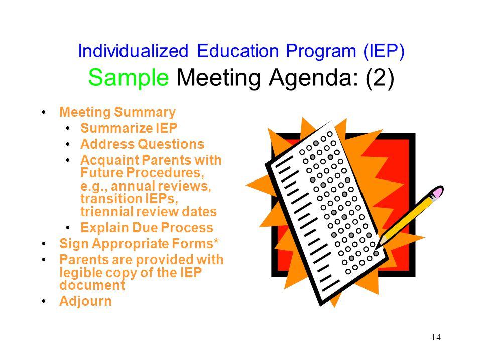 Individualized Education Program (IEP) Sample Meeting Agenda: (2)