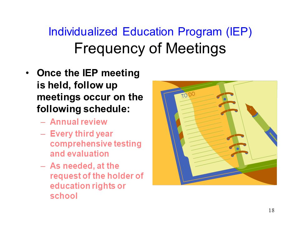 Individualized Education Program (IEP) Frequency of Meetings