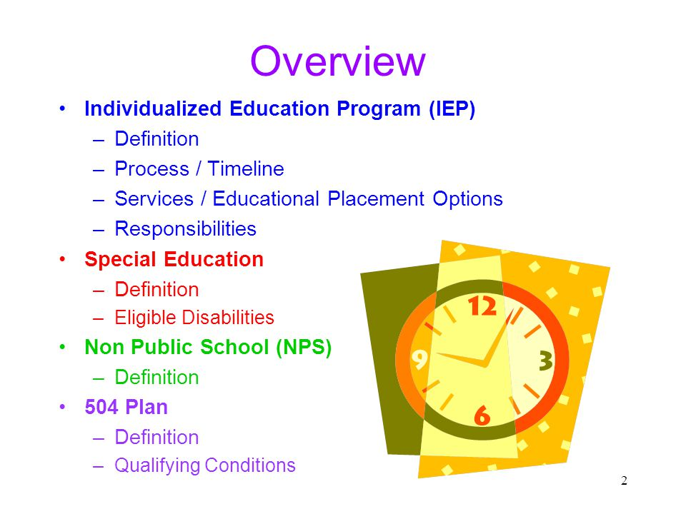 Overview Individualized Education Program (IEP) Definition
