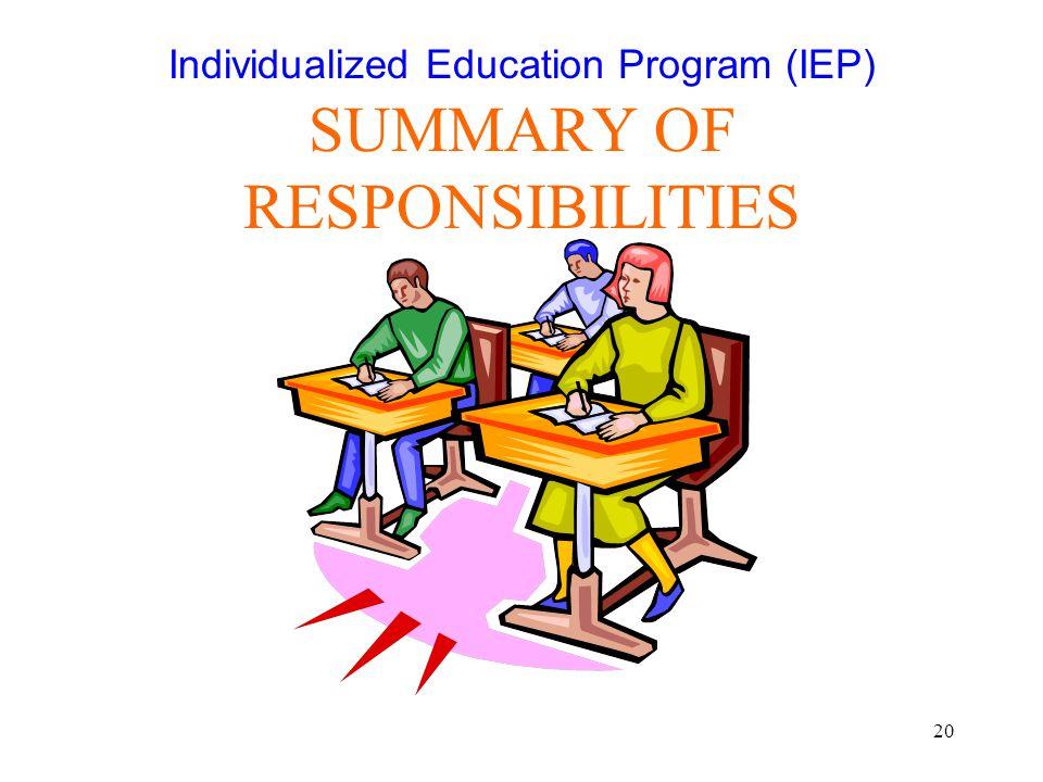 Individualized Education Program (IEP) SUMMARY OF RESPONSIBILITIES
