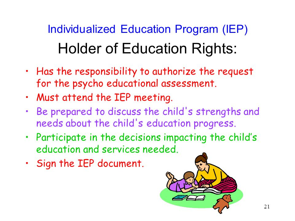 Individualized Education Program (IEP) Holder of Education Rights: