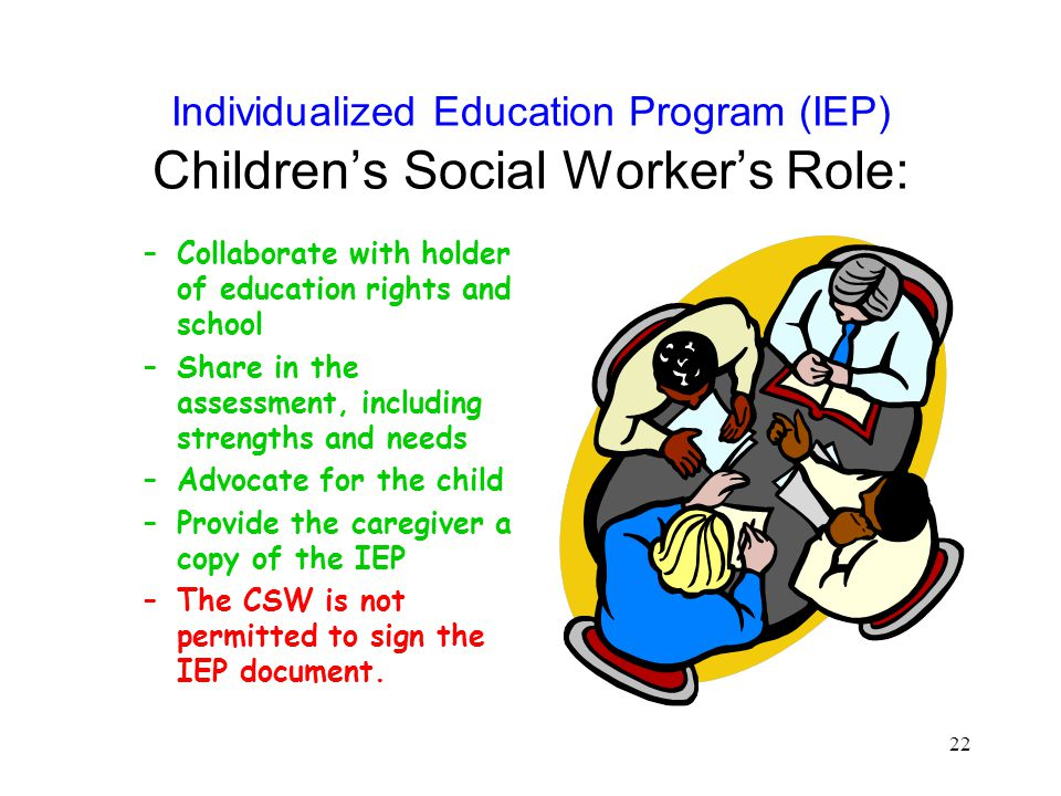 Individualized Education Program (IEP) Children's Social Worker's Role: