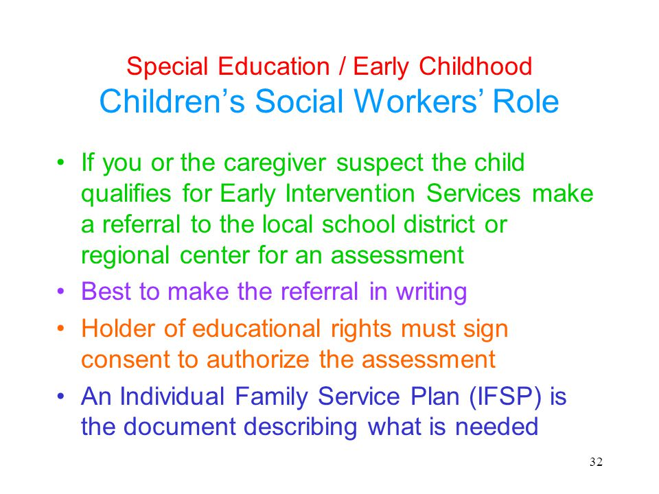 Special Education / Early Childhood Children's Social Workers' Role