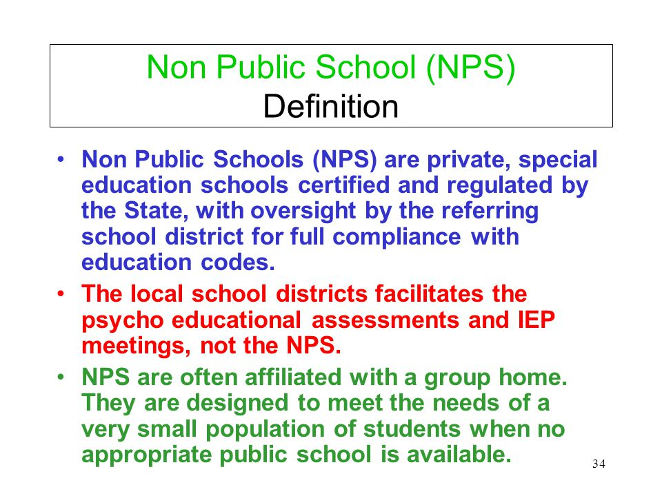 Non Public School (NPS) Definition