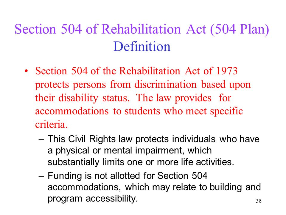 Section 504 of Rehabilitation Act (504 Plan) Definition