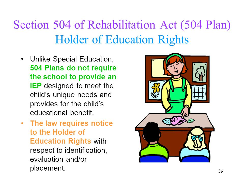 Section 504 of Rehabilitation Act (504 Plan) Holder of Education Rights