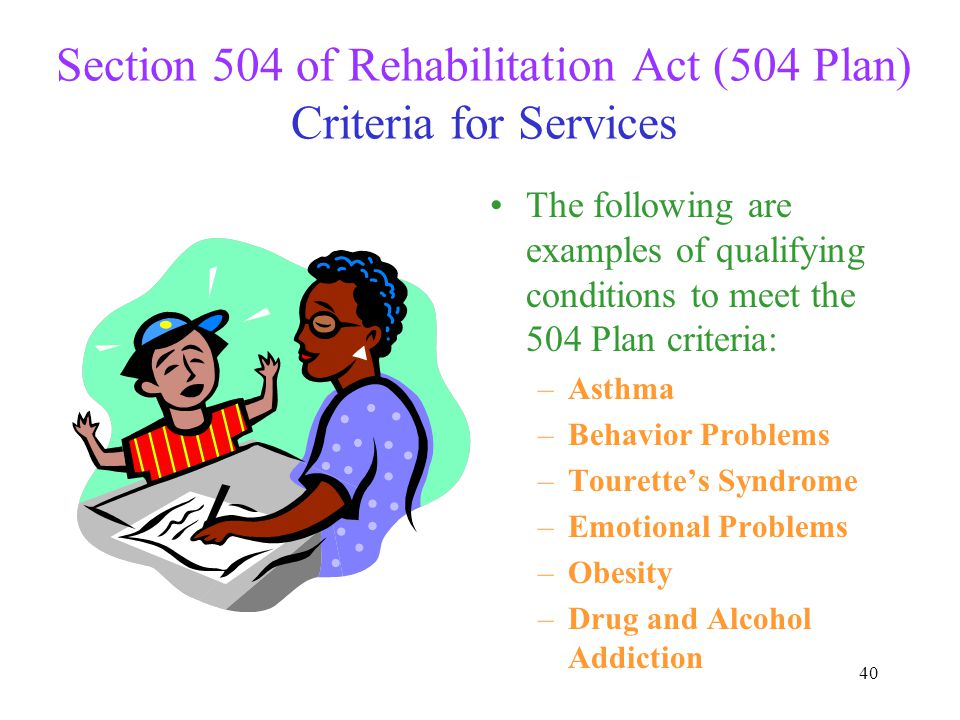 Section 504 of Rehabilitation Act (504 Plan) Criteria for Services