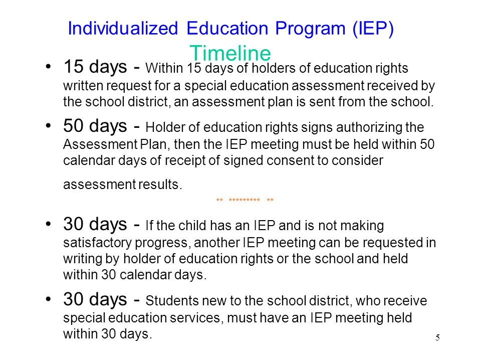 Individualized Education Program (IEP) Timeline