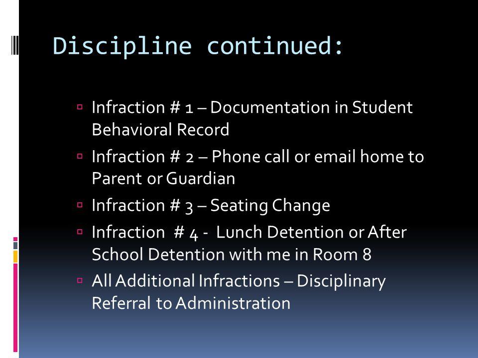 Discipline continued: