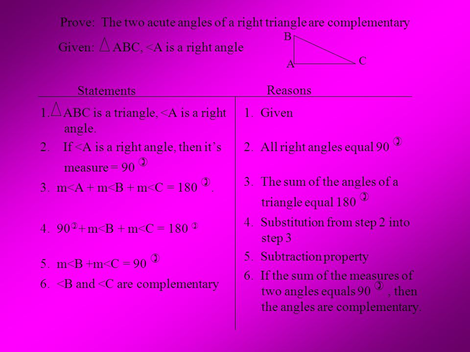 Prove: The two acute angles of a right triangle are complementary