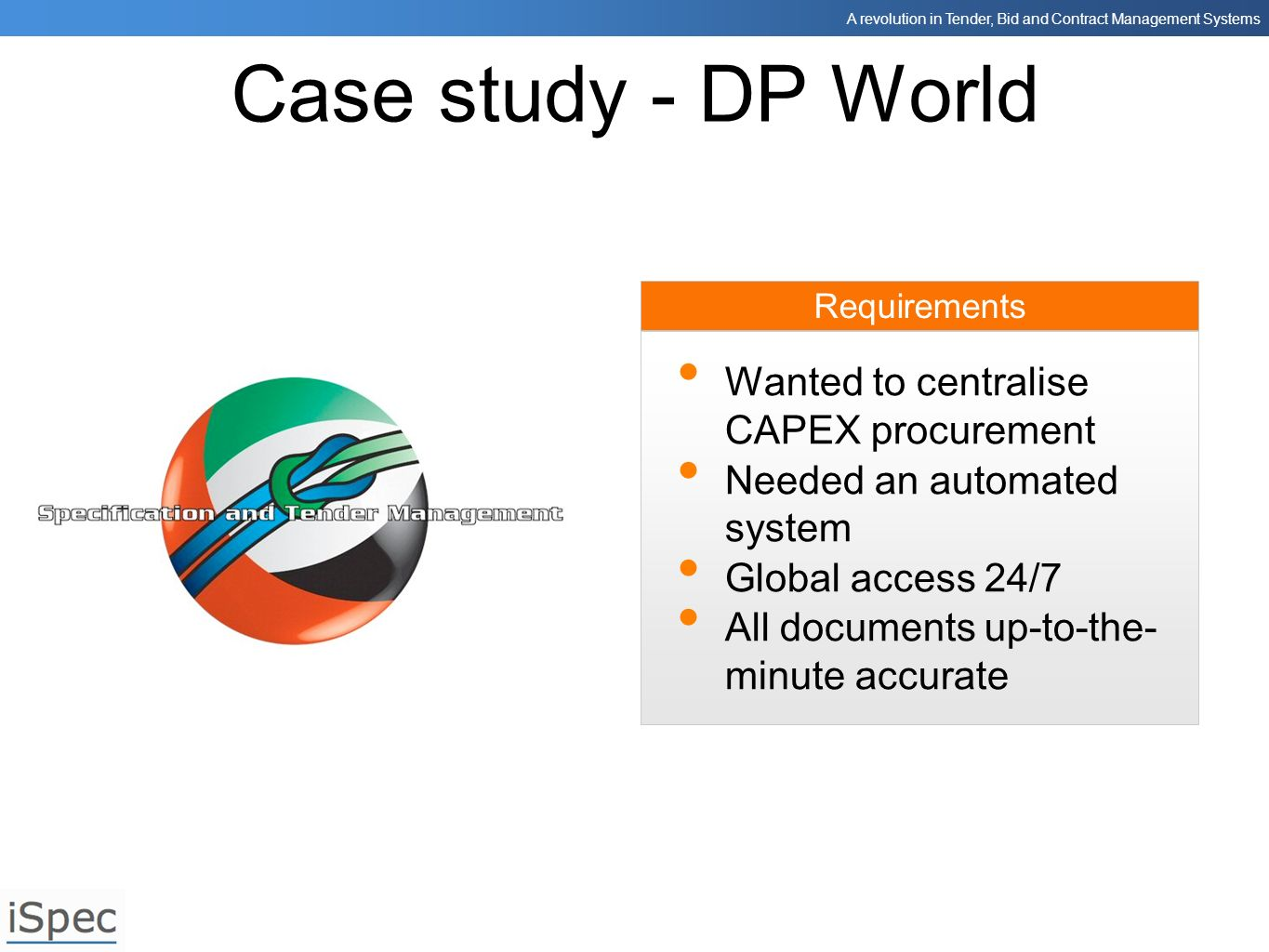 Case study - DP World Wanted to centralise CAPEX procurement