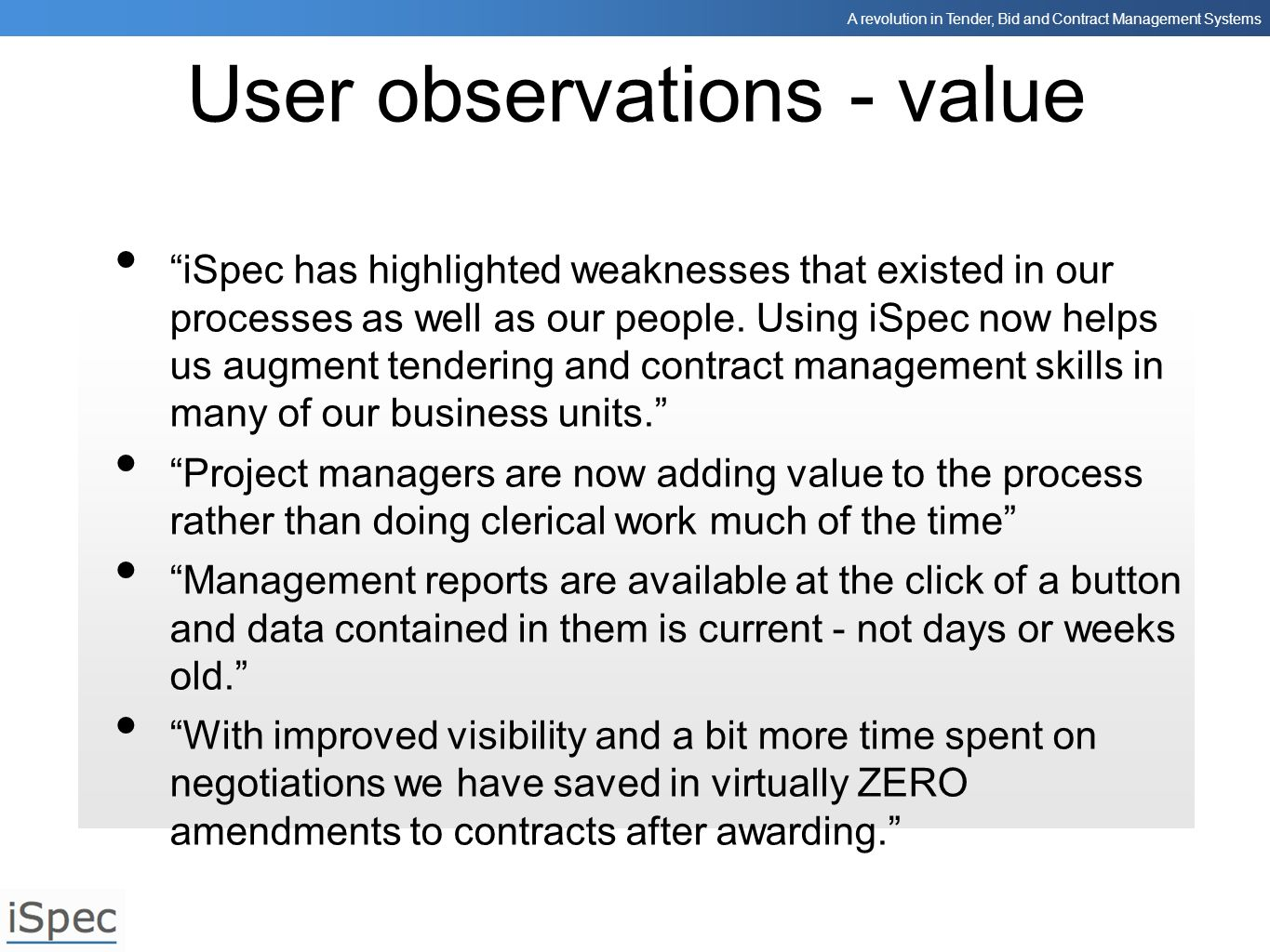 User observations - value