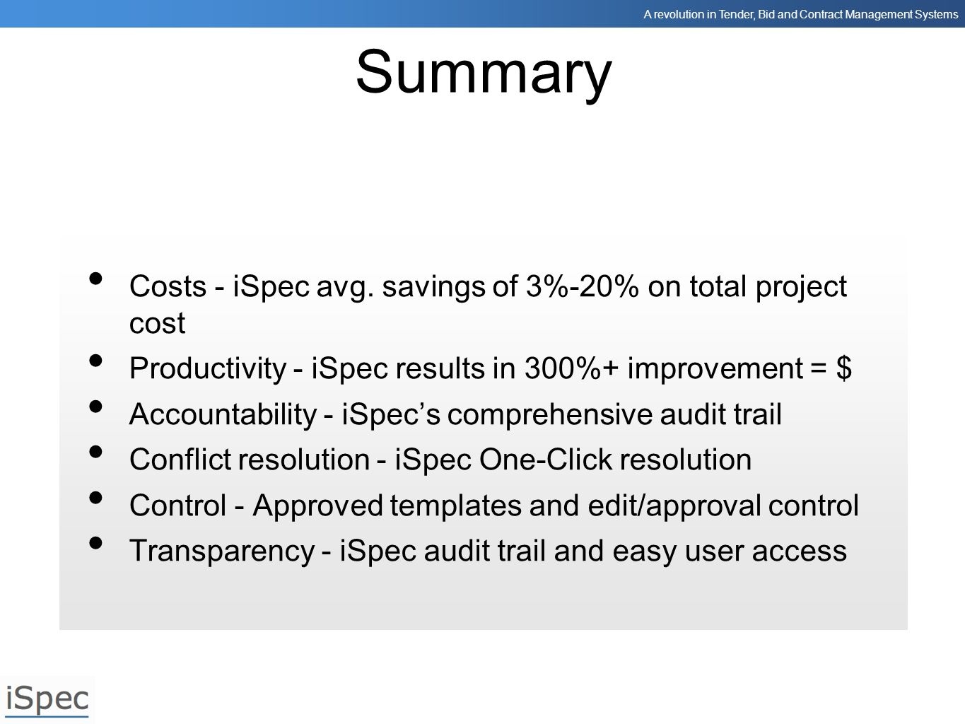 Summary Costs - iSpec avg. savings of 3%-20% on total project cost