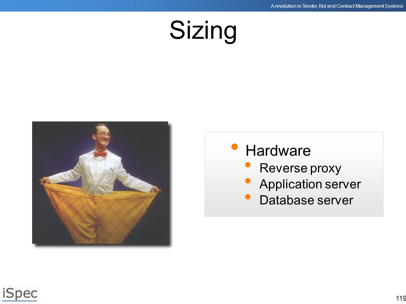 Sizing Hardware Reverse proxy Application server Database server