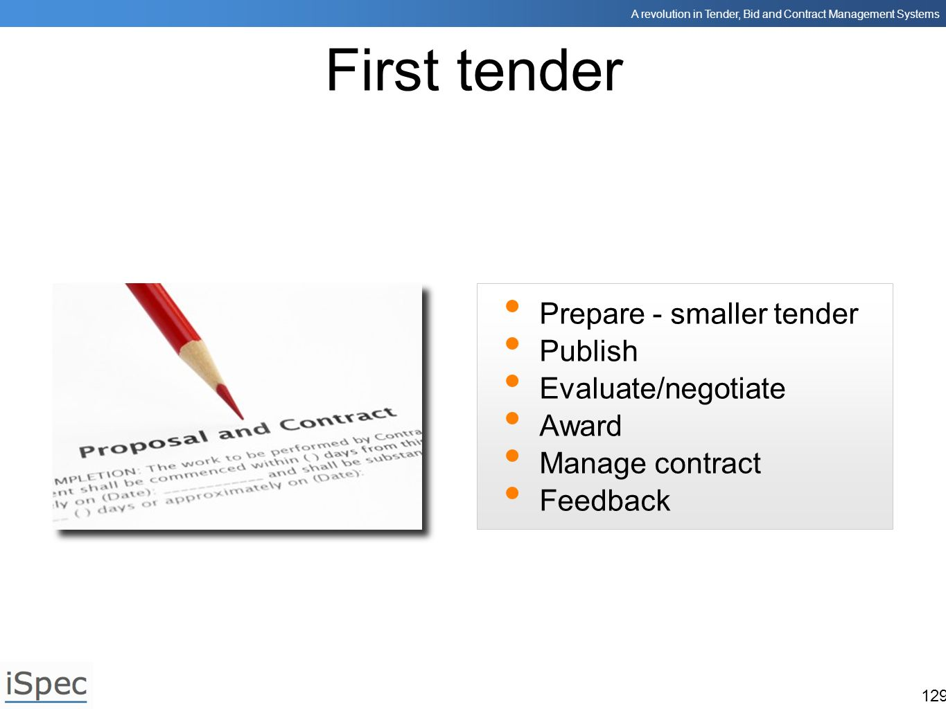 First tender Prepare - smaller tender Publish Evaluate/negotiate Award