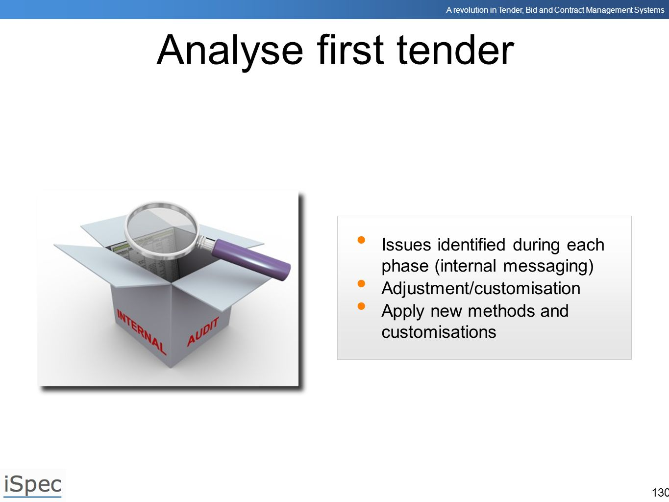 Analyse first tender Issues identified during each phase (internal messaging) Adjustment/customisation.