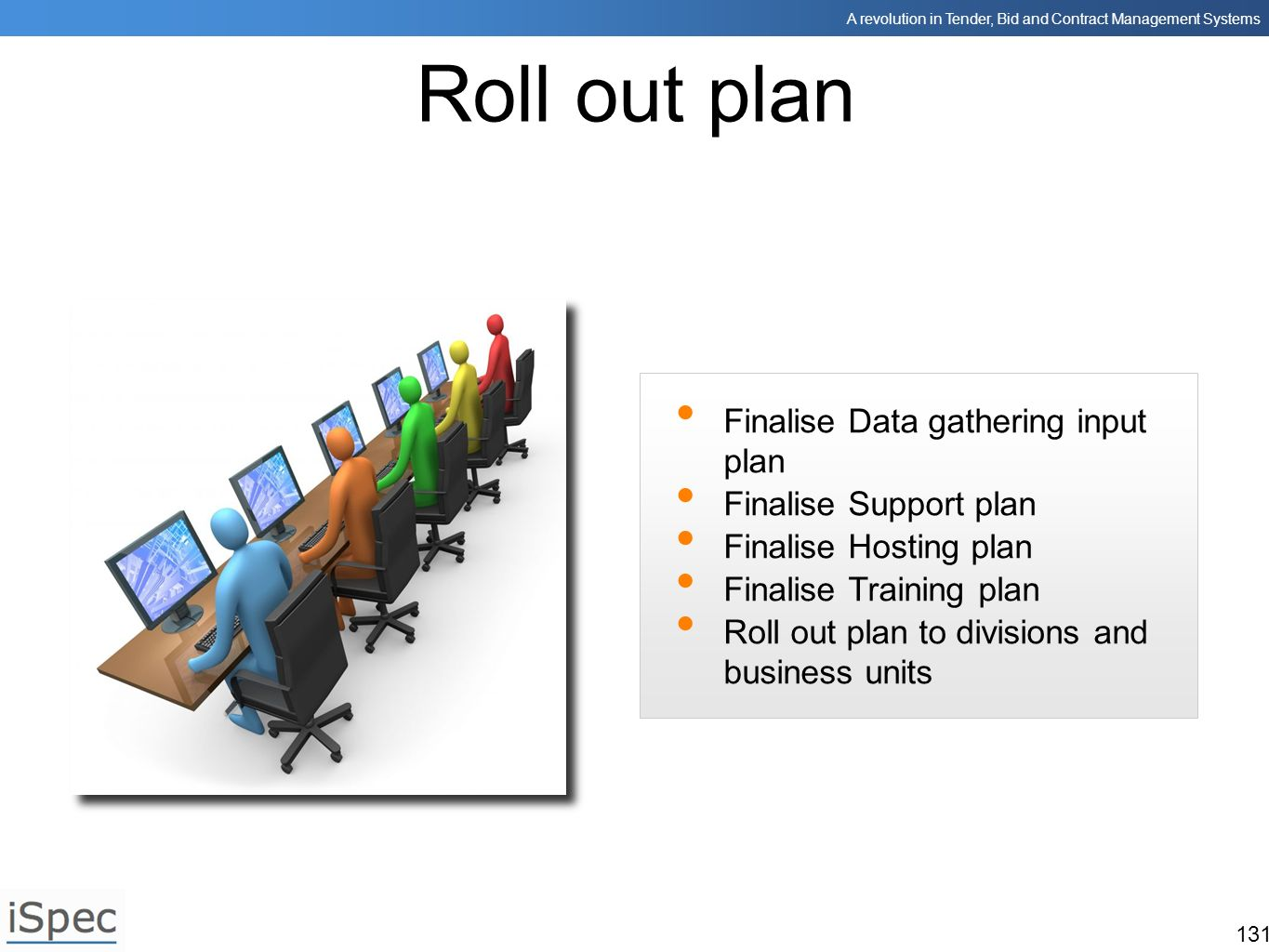 Roll out plan Finalise Data gathering input plan Finalise Support plan