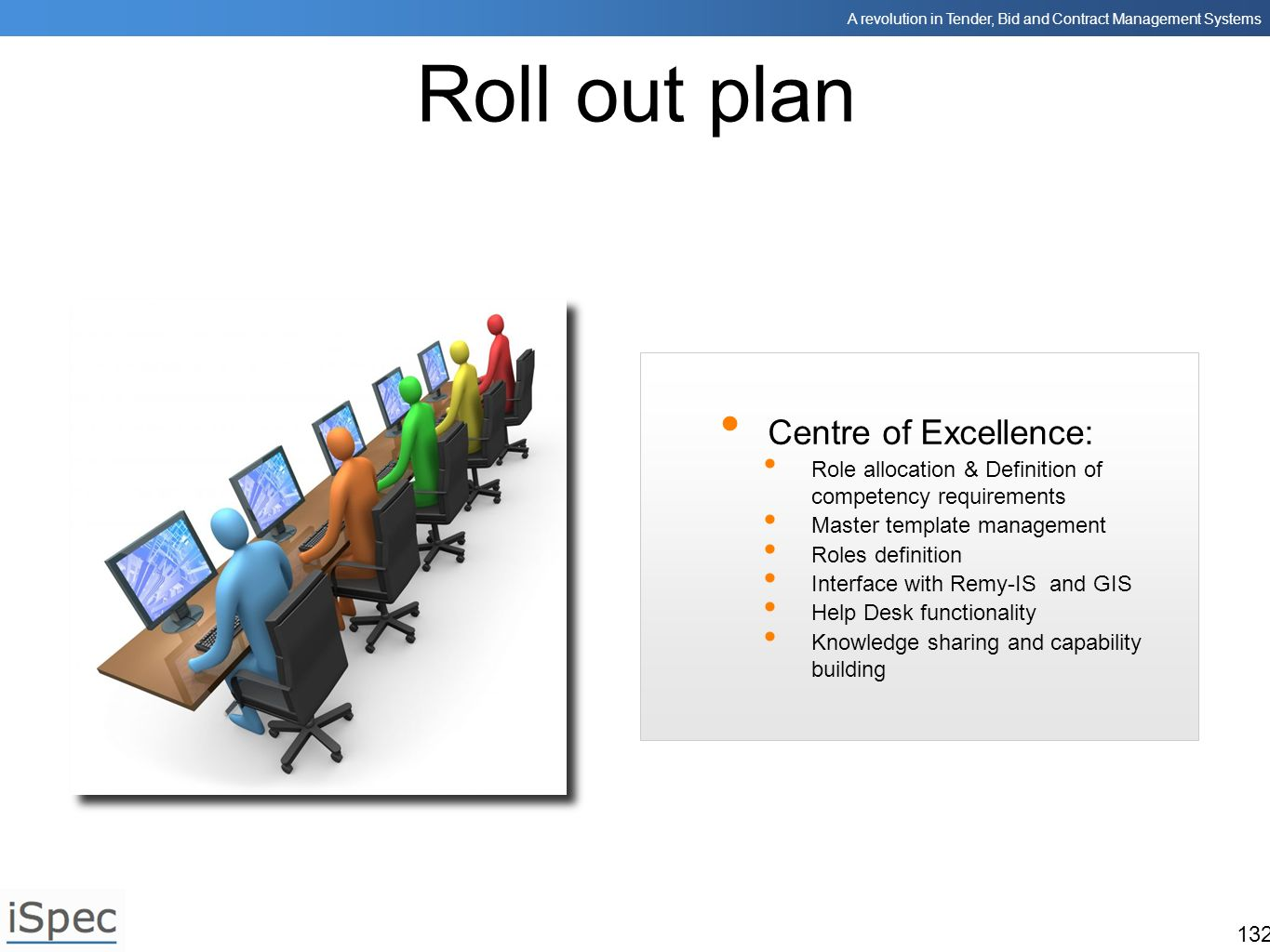 Roll out plan Centre of Excellence: