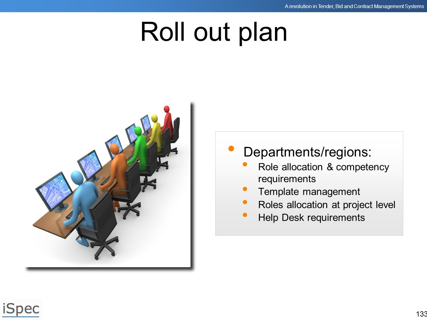 Roll out plan Departments/regions: