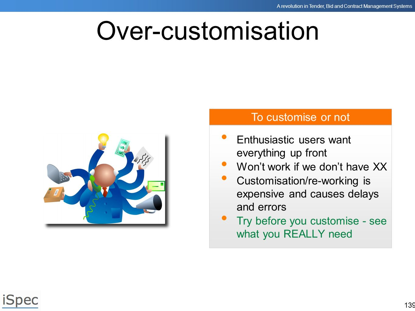 Over-customisation To customise or not