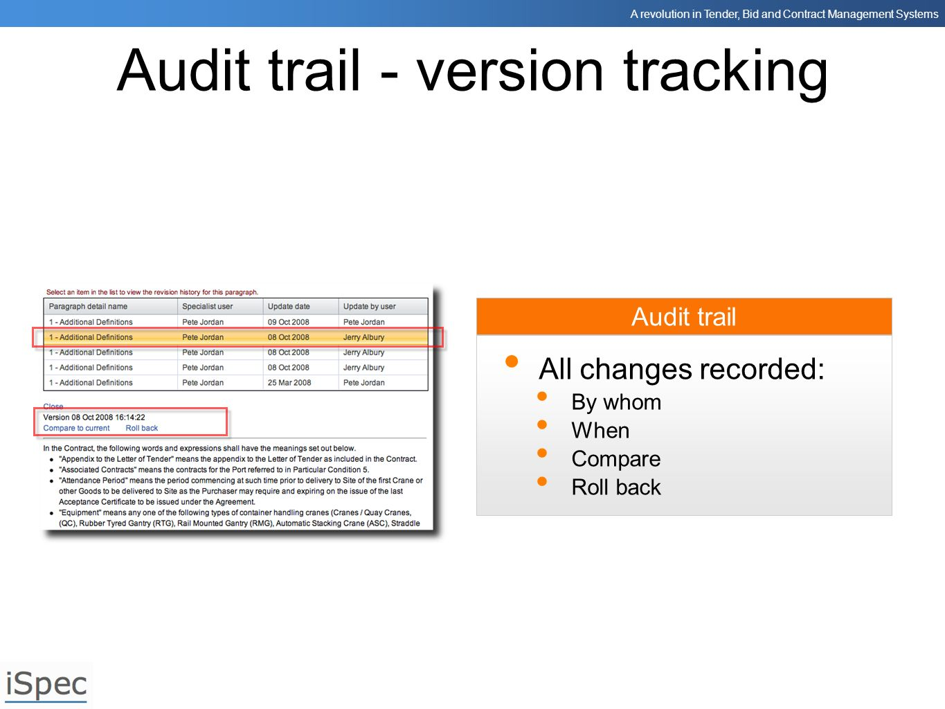 Audit trail - version tracking