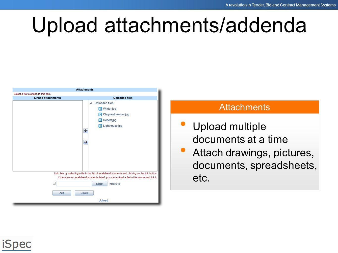 Upload attachments/addenda