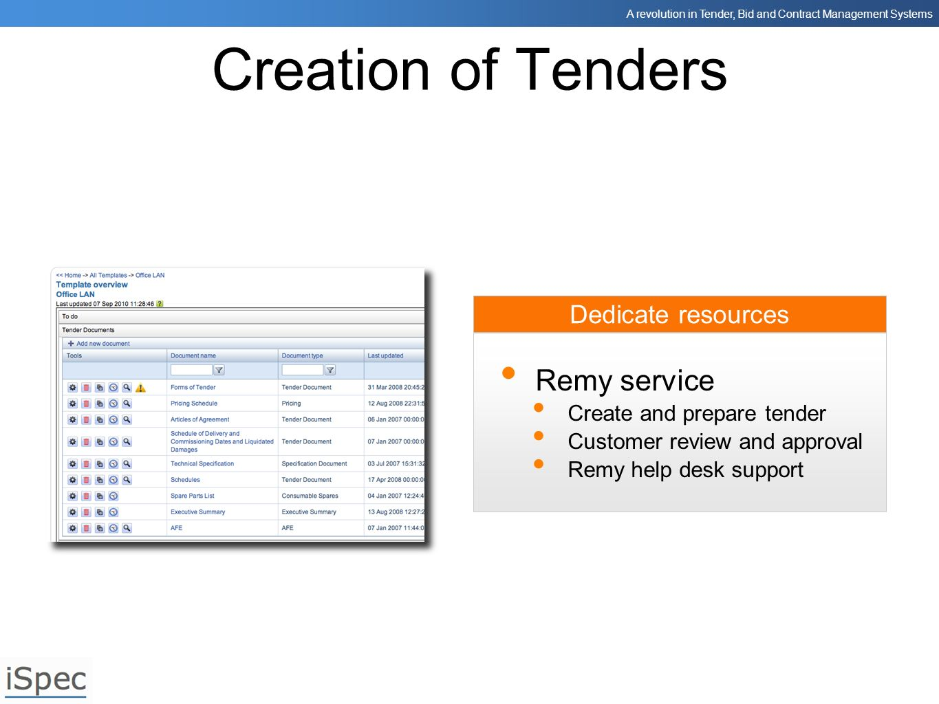 Creation of Tenders Remy service Dedicate resources