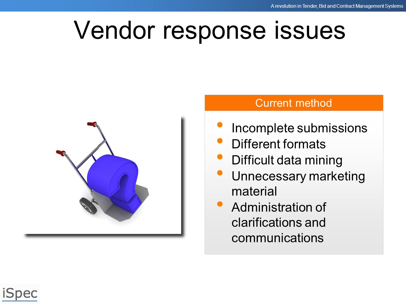 Vendor response issues