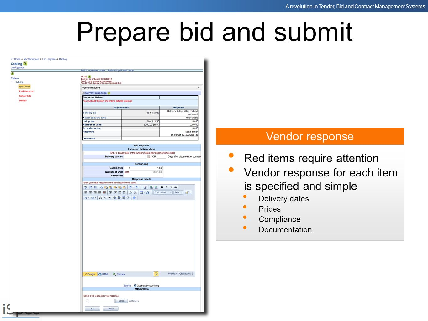 Prepare bid and submit Vendor response Red items require attention