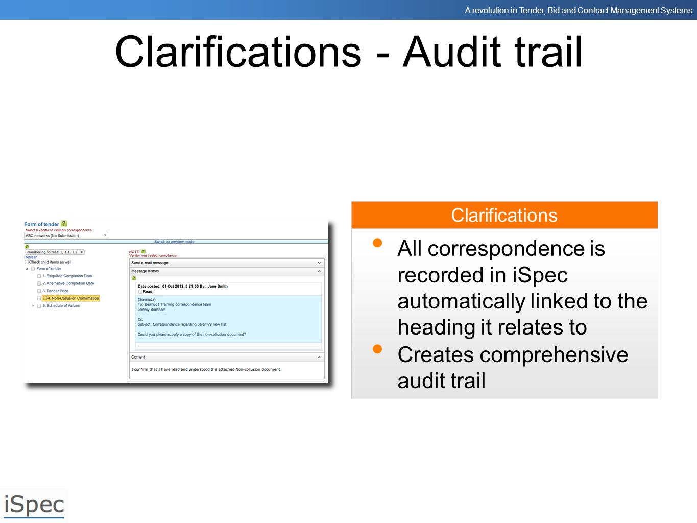 Clarifications - Audit trail