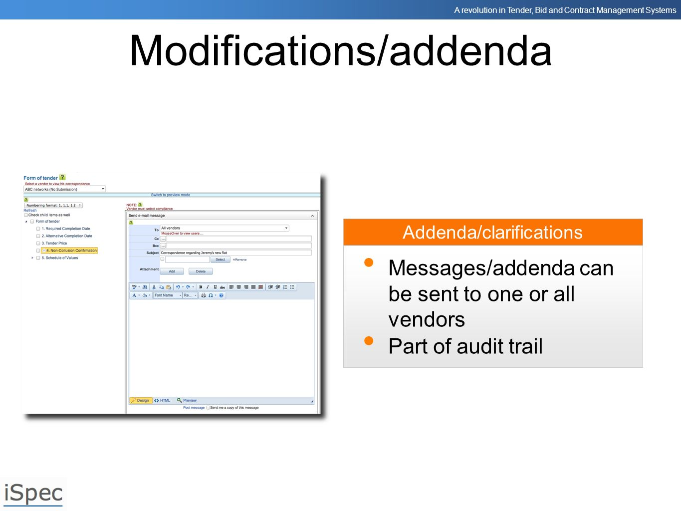Modifications/addenda