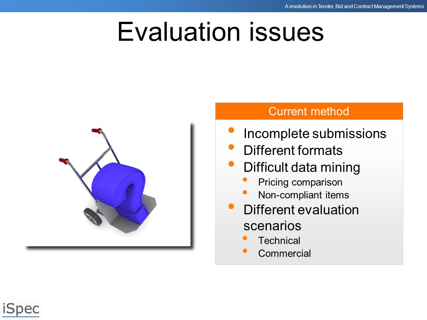 Evaluation issues Incomplete submissions Different formats