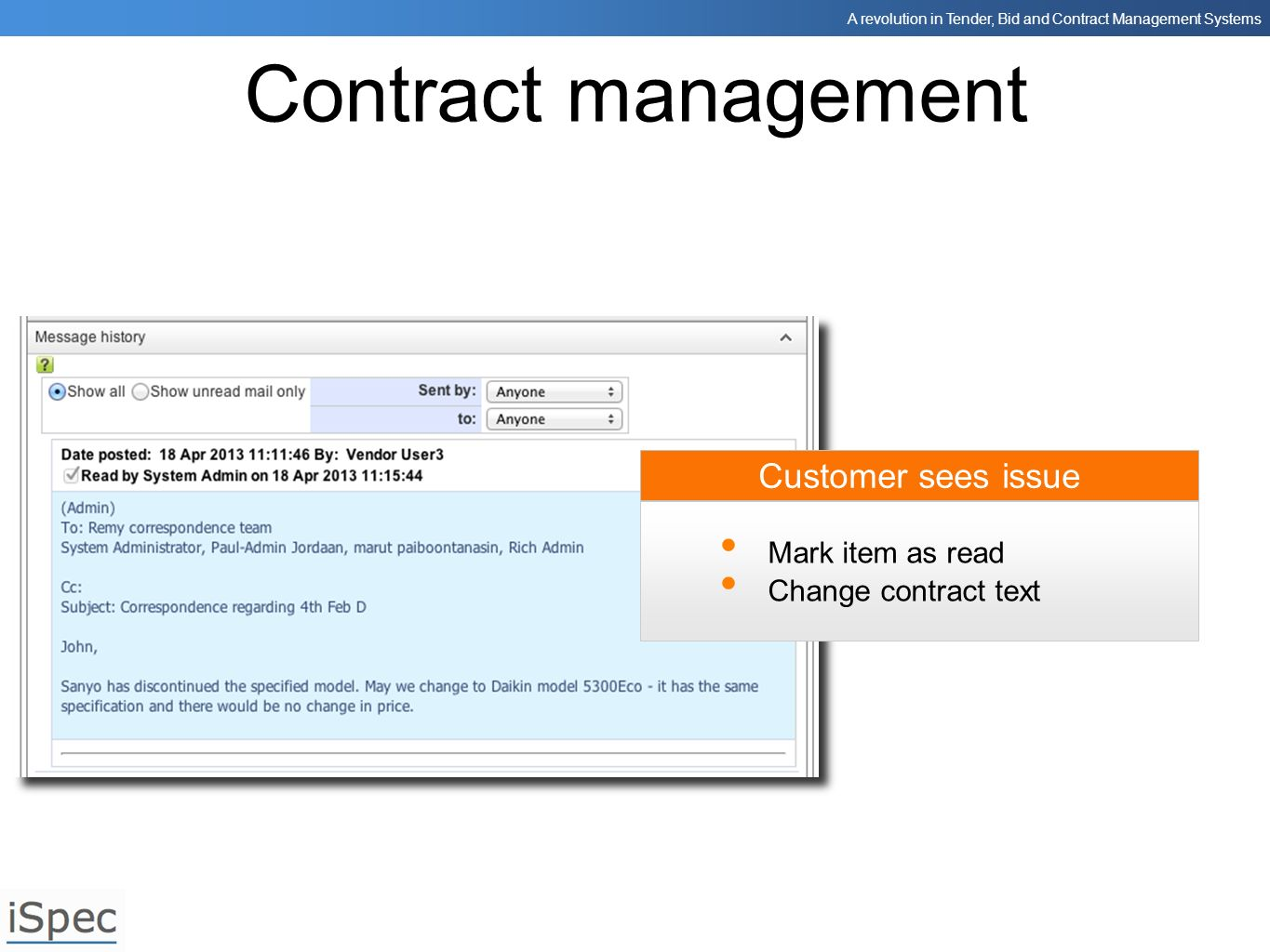 Contract management Customer sees issue Mark item as read