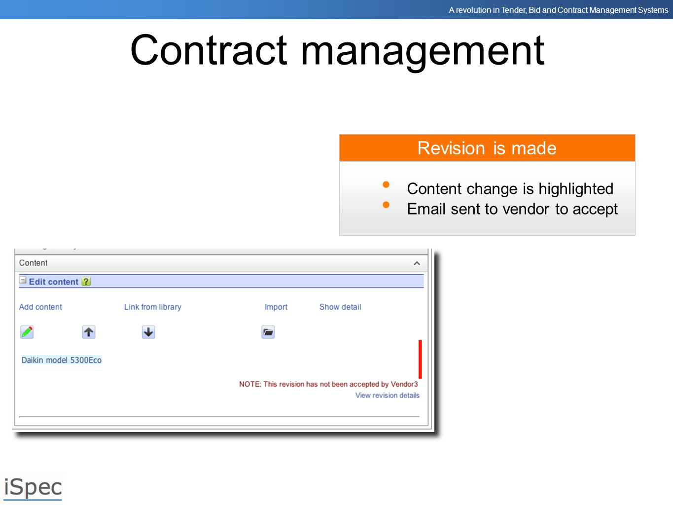 Contract management Revision is made Content change is highlighted
