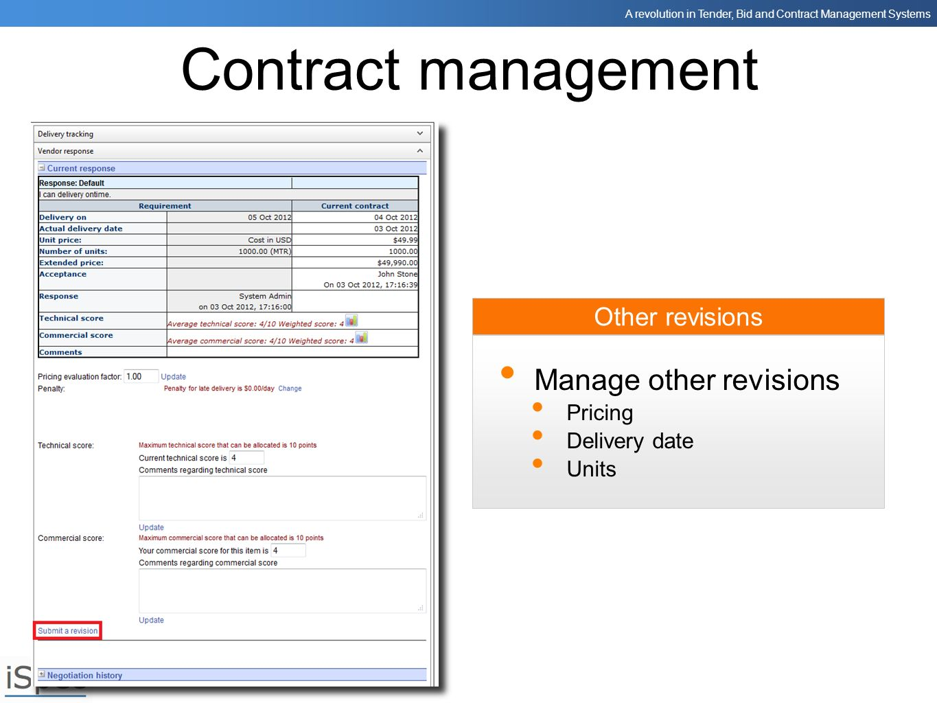 Contract management Manage other revisions Other revisions Pricing