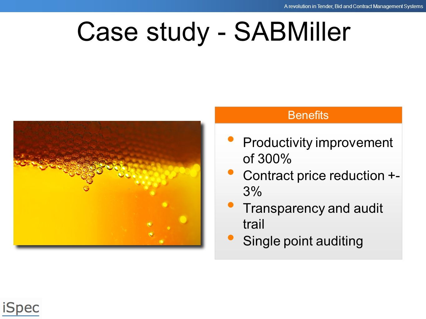 Case study - SABMiller Productivity improvement of 300%