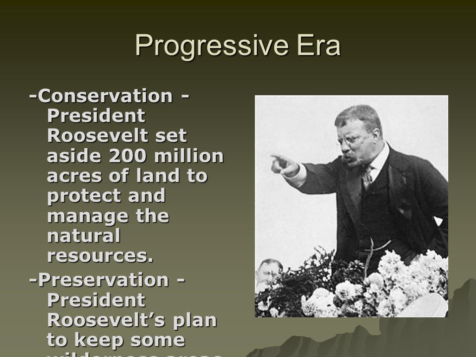 Progressive Era-Conservation - President Roosevelt set aside 200 million acres of land to protect and manage the natural resources.