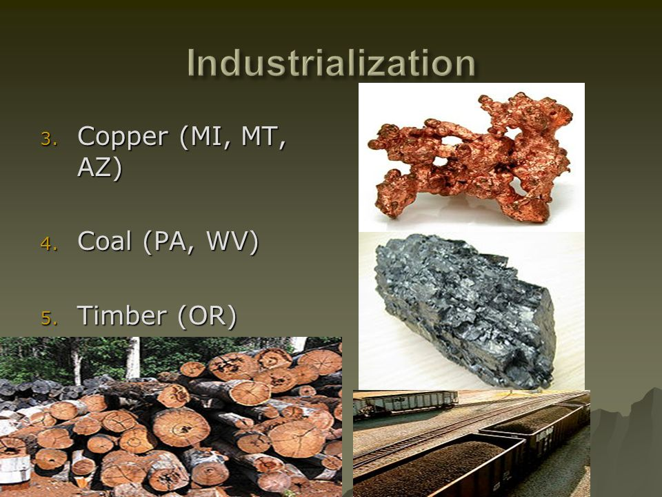 Industrialization Copper (MI, MT, AZ) Coal (PA, WV) Timber (OR)